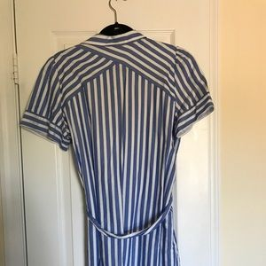 LOFT Dresses - Loft blue and white vertical stripped shirtdress